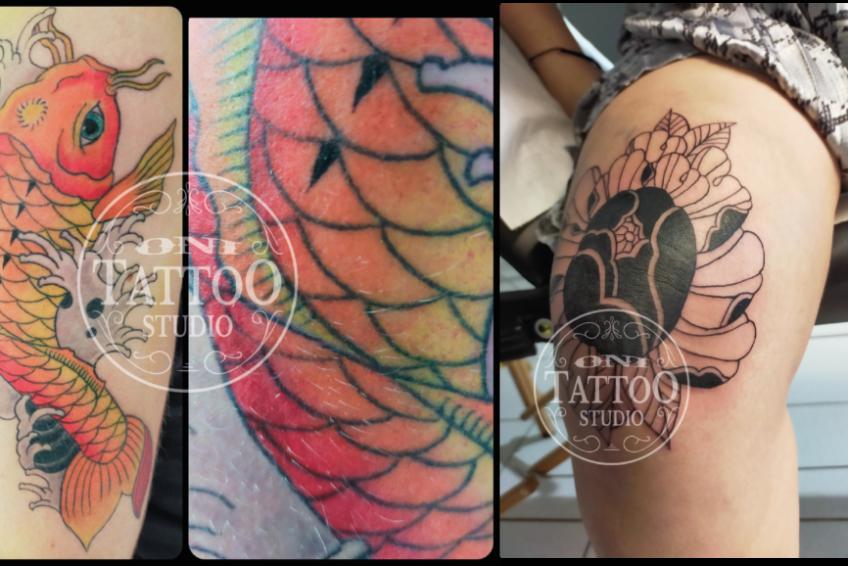Oni Tattoo Tatouage Queven Lorient Guidel Ploemeur Gestel Quimperle Lanester Traditionnel Old School Japonais Morbihan Bretagne Fleurs Irezumi