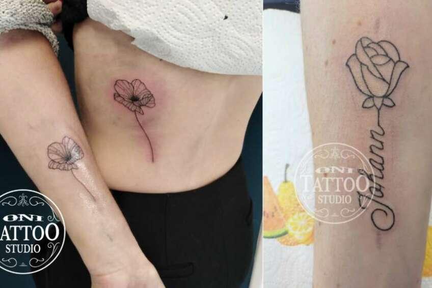 Oni Tattoo Tatouage Queven Lorient Guidel Ploemeur Gestel Quimperle Lanester Traditionnel Old School Japonais Morbihan Bretagne Fleurs Minimalistes